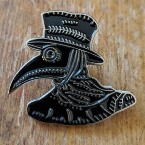 Black Death Plague Mask Enamel Pin Badge New